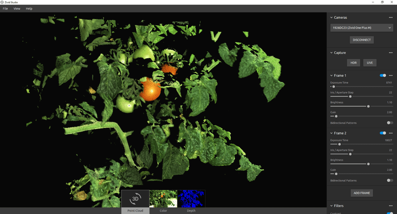 Zivid One+ 3D color camera used for agriculture tomatoes